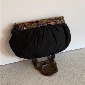 Vintage beaded clutch purse black crepe bag